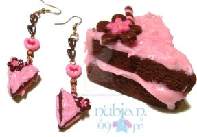 Chocolate cake earrings by colourful-blossom