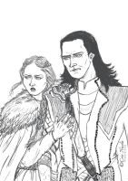 Loki and Sansa sketch for Lost HQ by Cris-Nicola