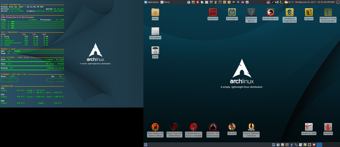 July 2017 Desktop - Arch Linux and Xfce by hamishpaulwilson