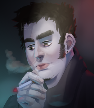 Smoking [[speedpaint in description]] by FroggyLovesCoffee