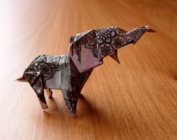 Origami Elephant Made with an Afghani Note. by craigfoldsfives