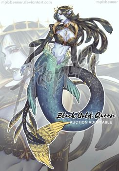 [CLOSE] Black gold queen mermaid [Auction] by MPBBENNER