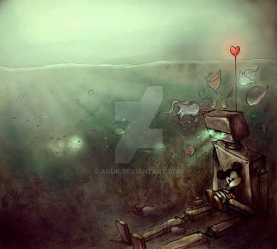 Robot and Mickey by Anuk