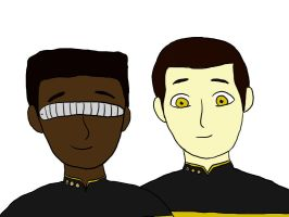 Data and Geordi by Klopford
