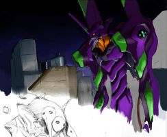 Eva01 facing 3rd angel WIP 2 by aquadrop