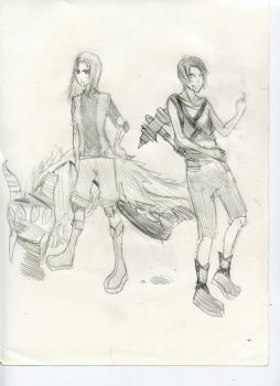 Yunna and Michael sketch by LollipopMaster