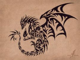 dragon and wolf tattoo design by lucky978 on deviantart. Black Bedroom Furniture Sets. Home Design Ideas