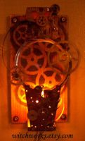 Stepunk Wall Sconce -lit up- by Steampunked-Out