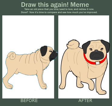 Before and after meme - Mr Puggy by Jeamesero
