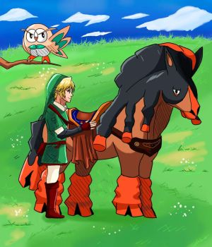 Link and Mudsdale by ian9000