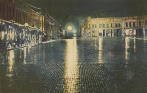 Night Scene Postcards - Rainy Night on Main Street by Yesterdays-Paper
