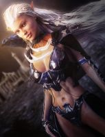 White Haired Fantasy Elf Warrior with Crow, 3D-Art by shibashake