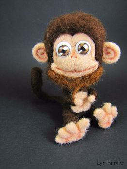 Needle Felted Toy - Funny Monkey by LynFamily