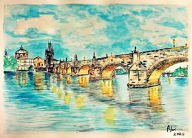 Bridge. Prague. Watercolor. by AnQuirks