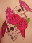 [FINISHED] death bats with roses by gbftattoos