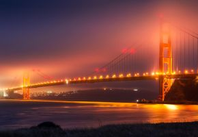 Golden Gate Bridge on a Foggy 4th of July Night by Xyclopx