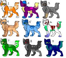 Cat Adoptables For Points by DoodlesTheRocker
