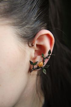 Soldered branch earcuff with citrine crysta by Krinna