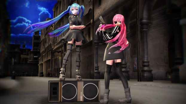 [MMD] Black Rebel Miku and Luka Download by YandereGirll