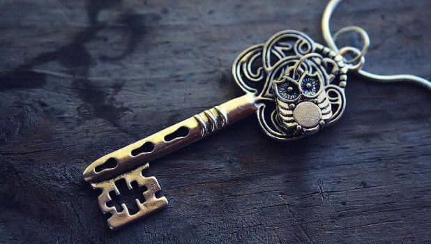 Tiny Silver Owl and Key Charm Necklace by MythicalFolk