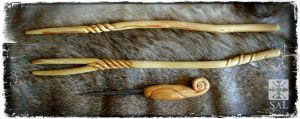 Yew Wands and Cedar Awl by Lolair