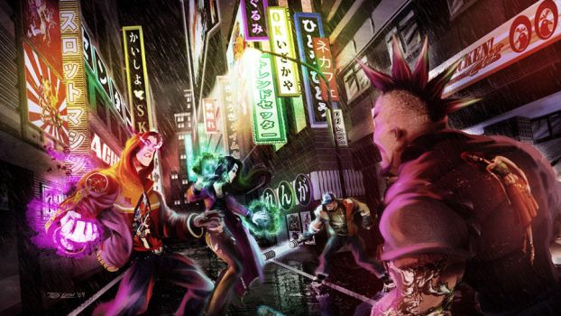 Fight in Nihon Alley by TedKimArt