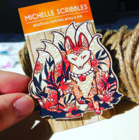 Kitsune, Ninetails fox brooch pin by michellescribbles