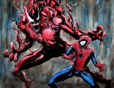 Carnage vs Spidey - Colored by hiionshrpee