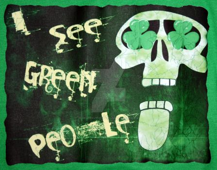 Goth Skull St. Patty's Design on Girls Cap sleeve by ReneeRutherford