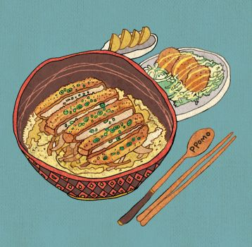 Food - Bowl of Rice Topped with Pork Cutlet by PPOMO