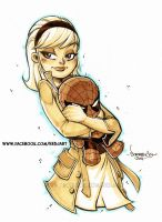 Gwen Stacy and her plushie Spidey by Red-J