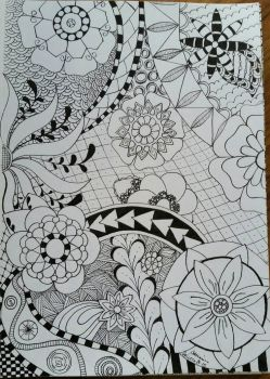Flower Zentangle  by CrazieCathie